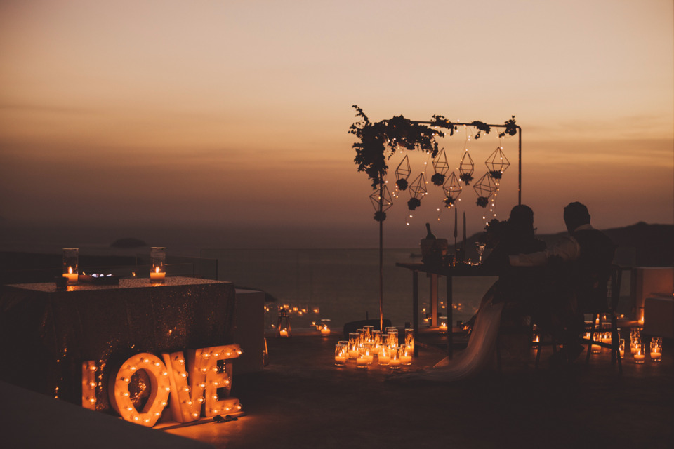 candle and marquee wedding lighting