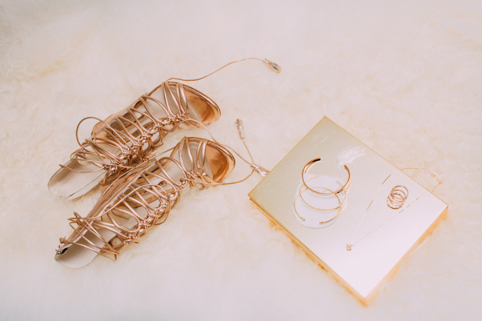 gold strap up wedding shoes