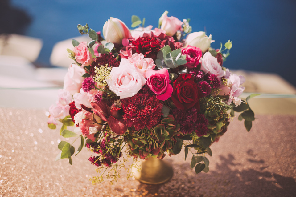 bold and bright pink wedding centerpiece