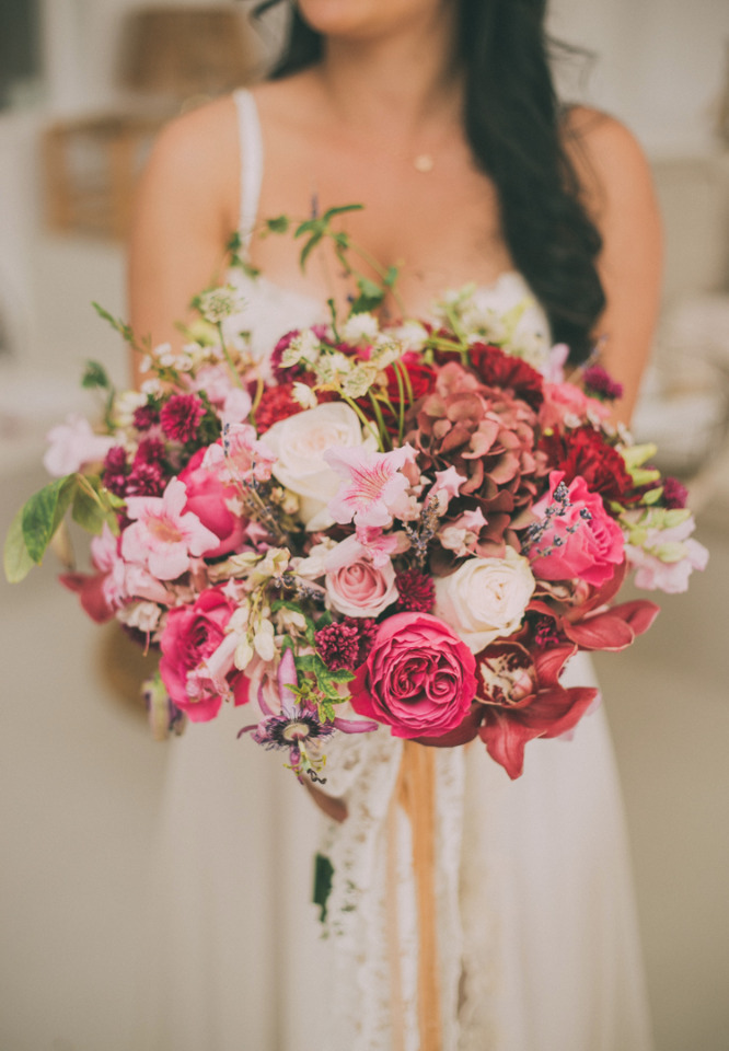 wild pink and red wedding bouquet