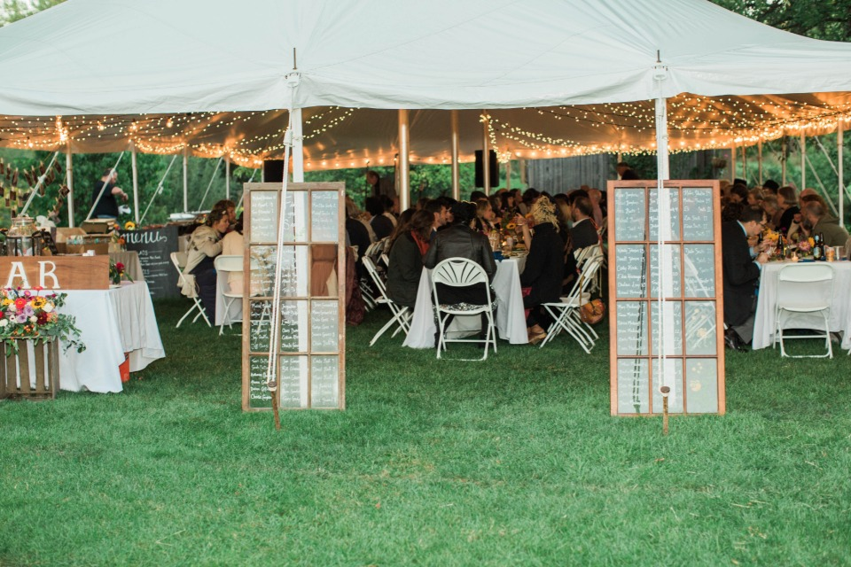Tent and twinkle lights reception