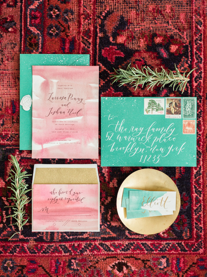 red and green watercolor wedding invites