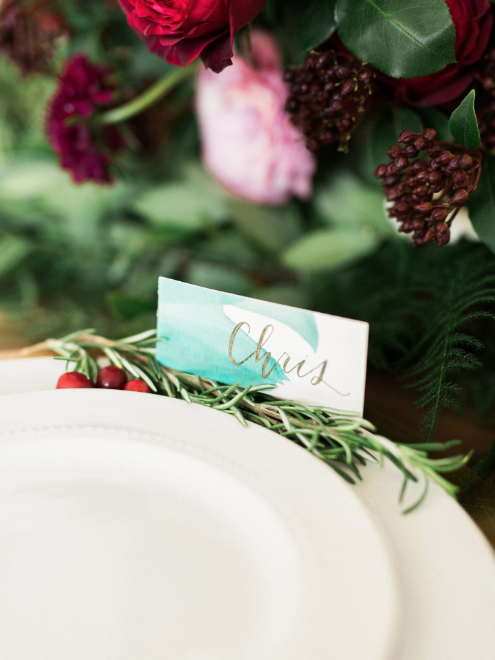 green watercolor wedding place cards