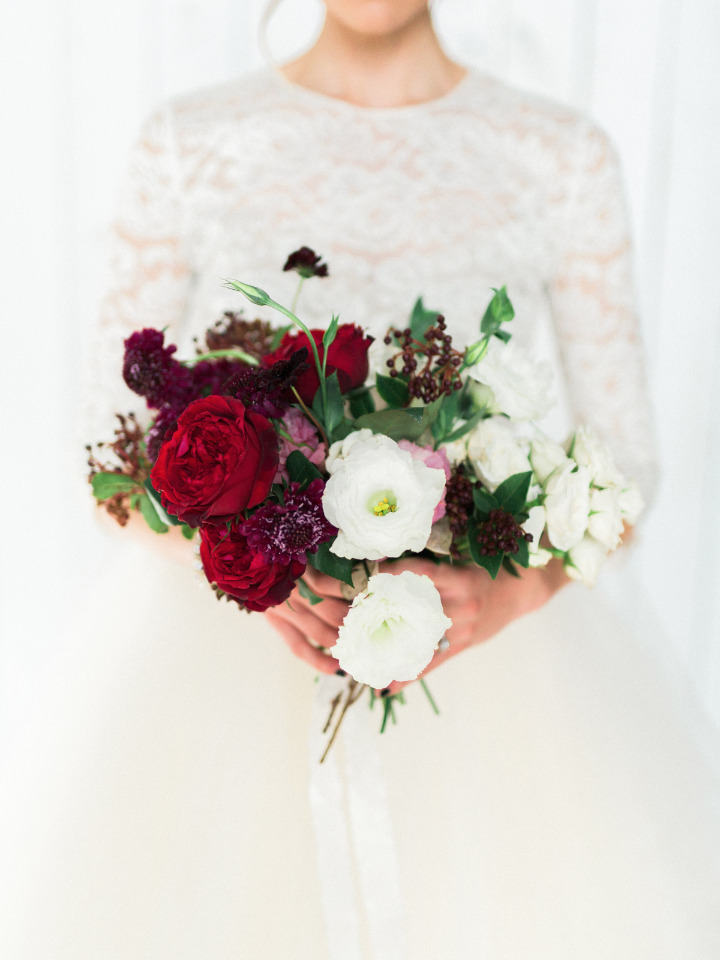 red and white organic wedding bouquet