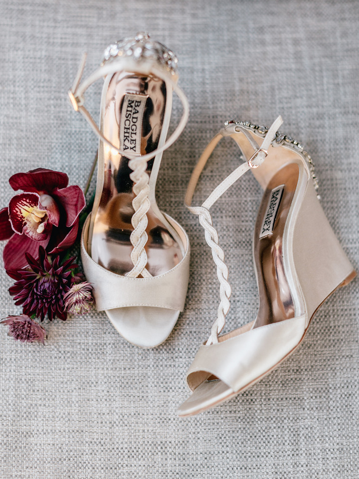 badgley mischka braided and jeweled wedding shoes
