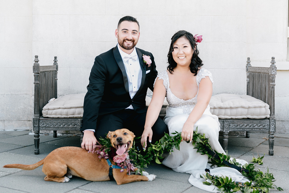 darling wedding dog with floral leash