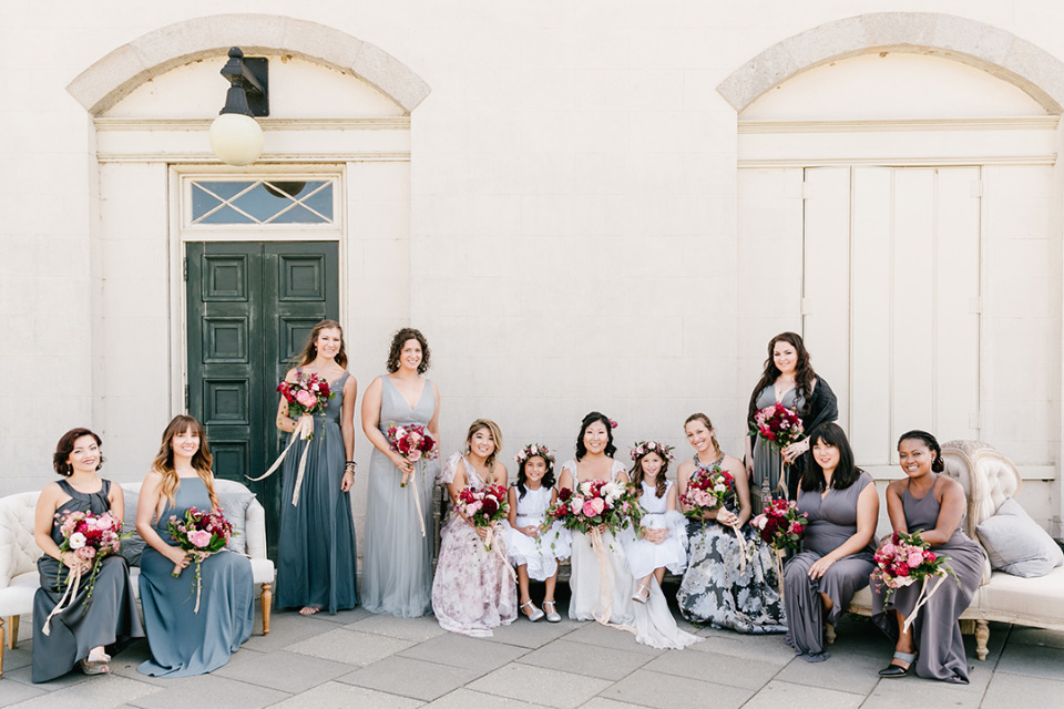 blue and gray mixed wedding bridesmaid dresses