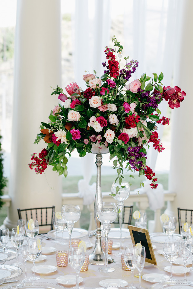 tall pink wedding centerpiece