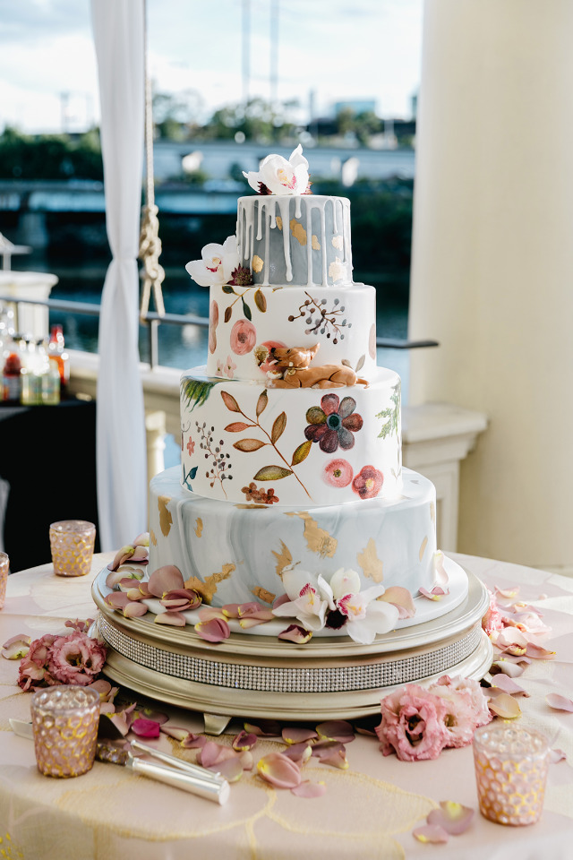 floral blue white and pink wedding cake