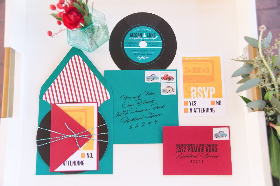 Vintage record inspired wedding invitation