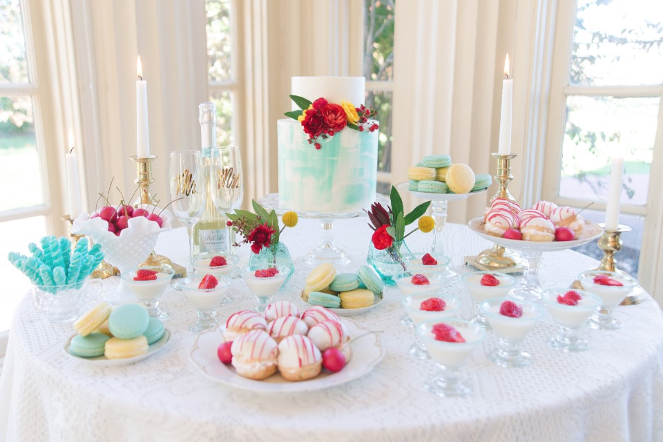 Vintage chic red and blue dessert table spread