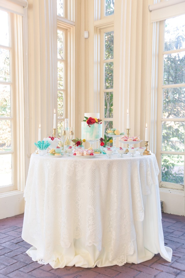 Vintage chic red and blue dessert table