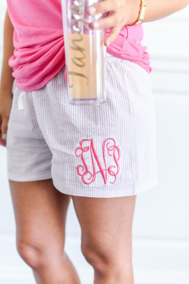 monogramed getting ready shorts
