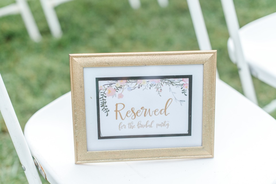 reserved for the bridal party seat sign