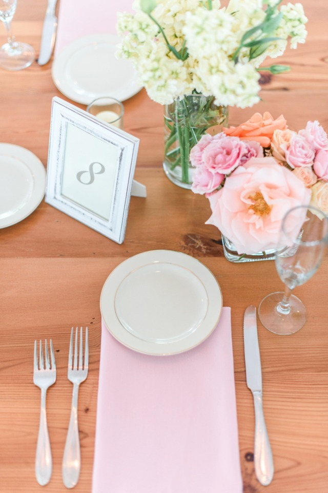 bright and beautiful pink and blush placesetting