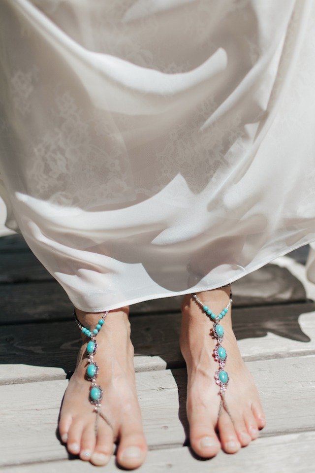 Bridal turquoise foot chains