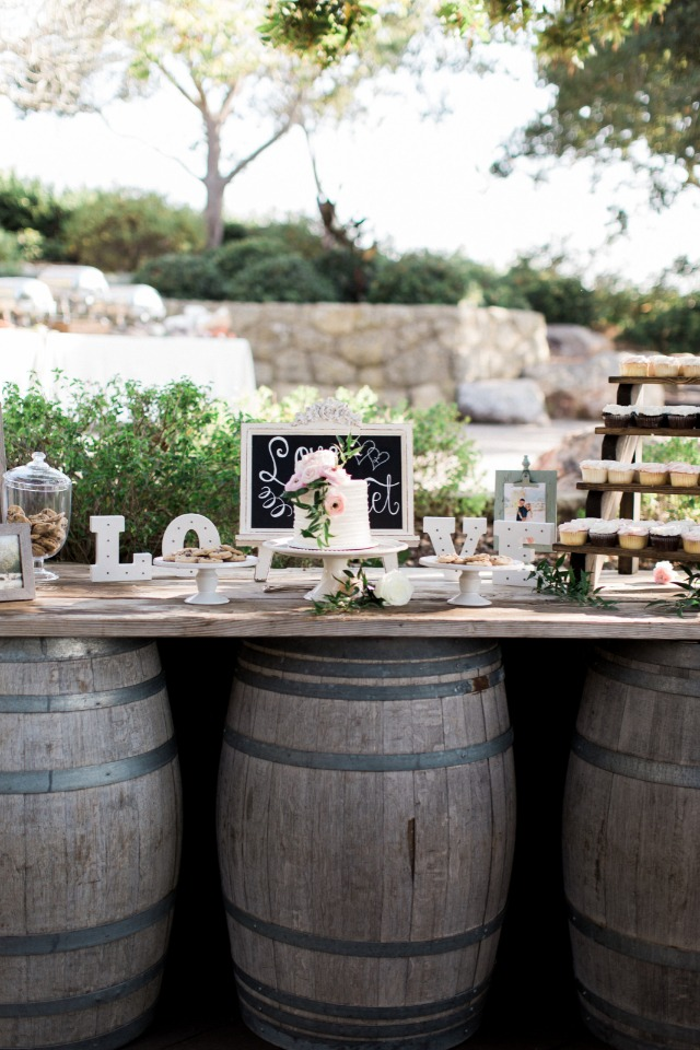 rustic chic wedding dessert table
