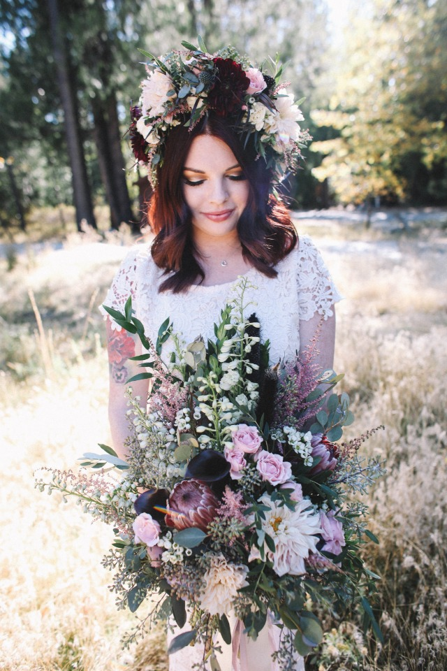 Boho chic bridal look