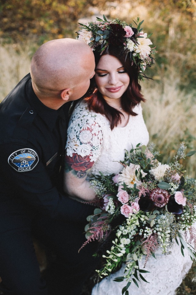 Love this boho bride and her man in blue