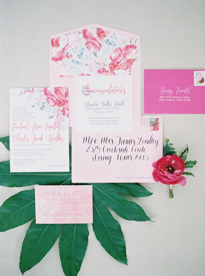 watercolor pink floral wedding stationery