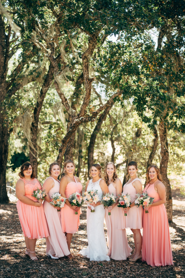 mix and match peach and blush bridesmaids dresses