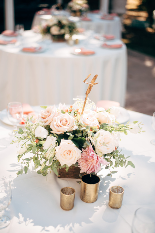 rose and dahlia wedding centerpiece