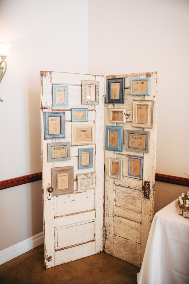 vintage doors for wedding seating chart