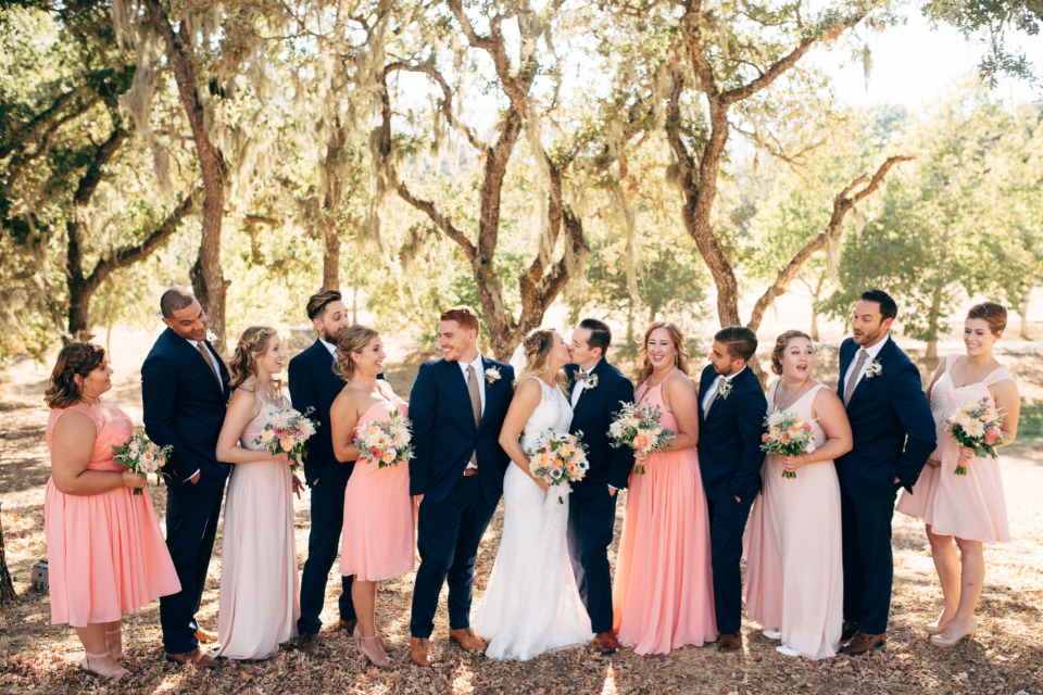 pink and navy wedding party attire
