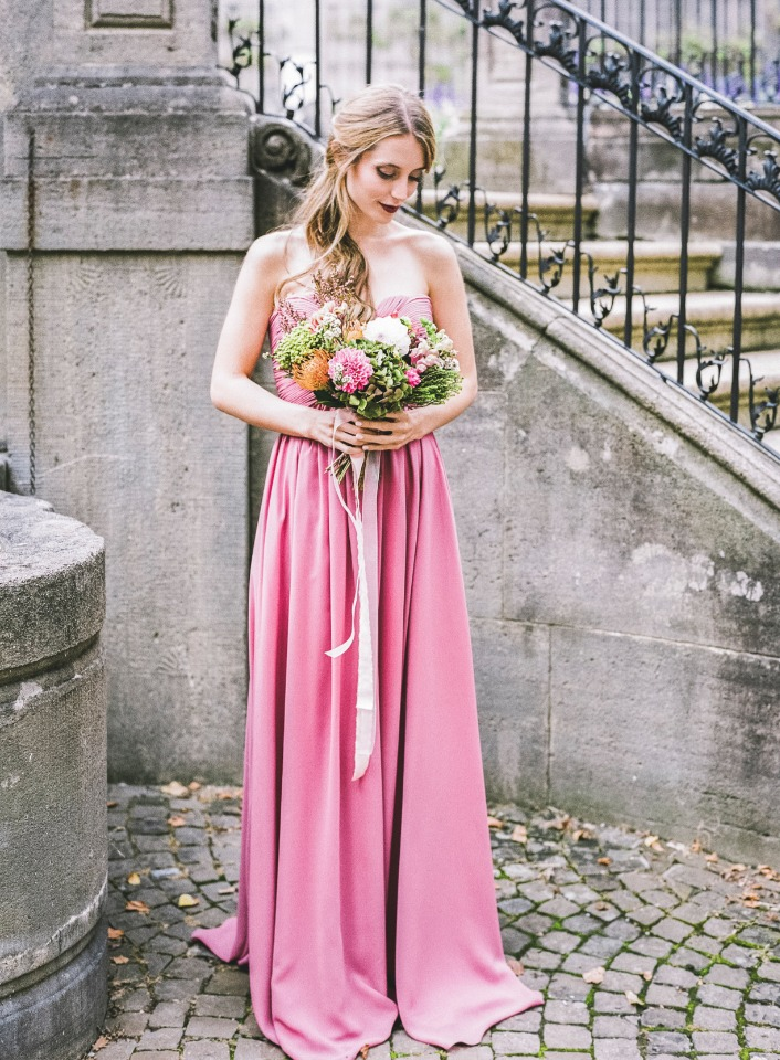 floor length pink bridesmaid dress