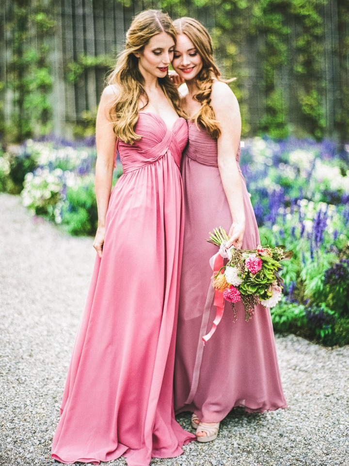 sweet garden bridesmaids in pink