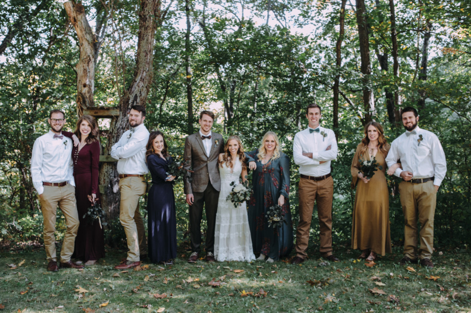 mix and match rustic wedding party attire