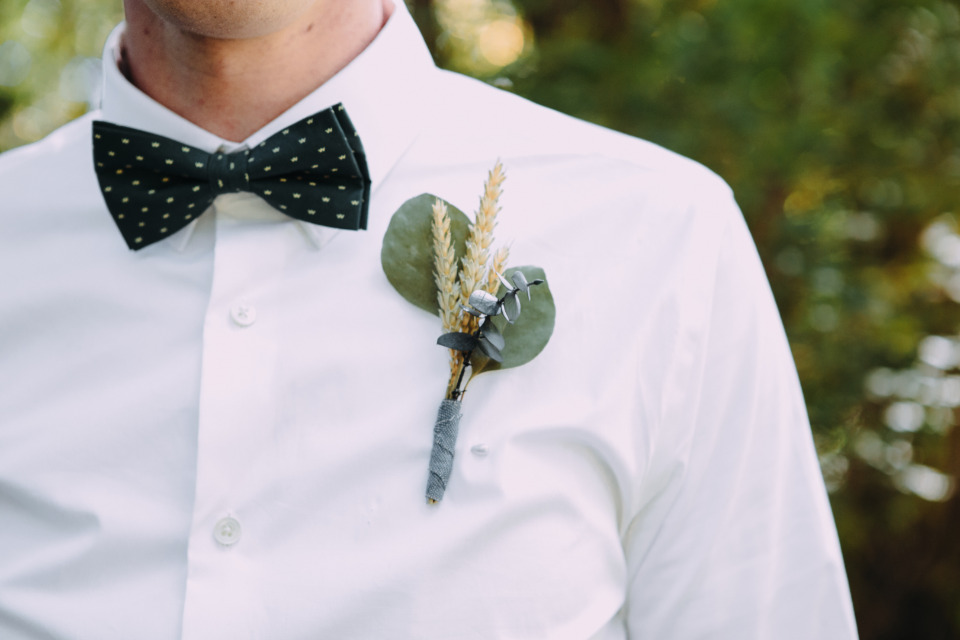 eucalyptus and wheat wedding boutonniere