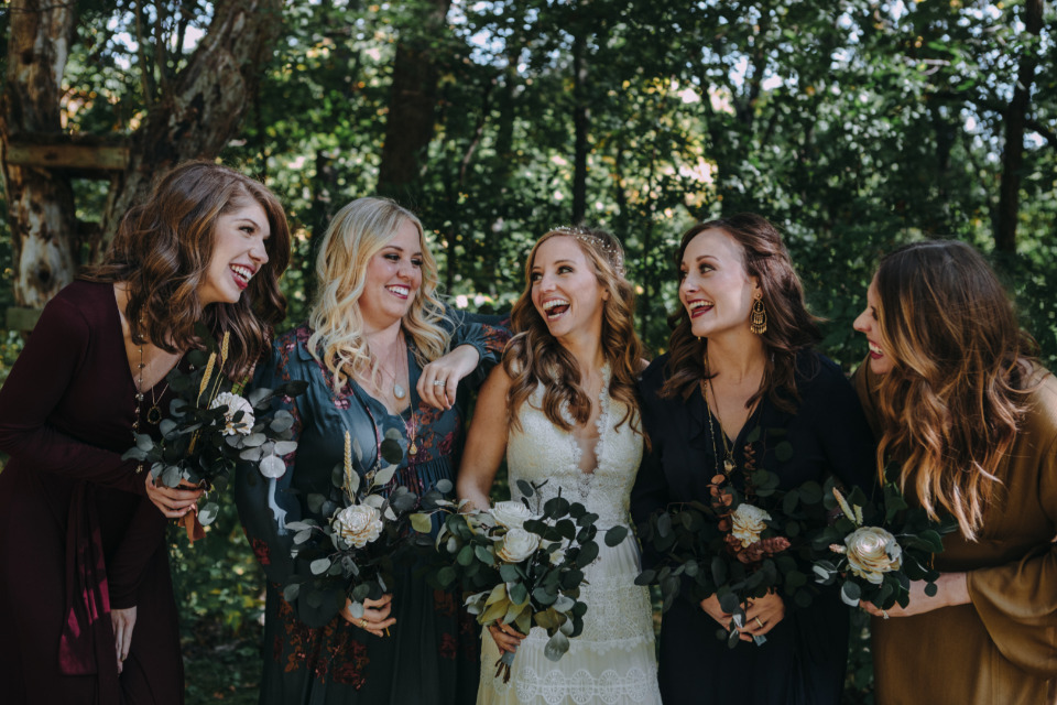 rich hues bridesmaids dresses with long sleeves