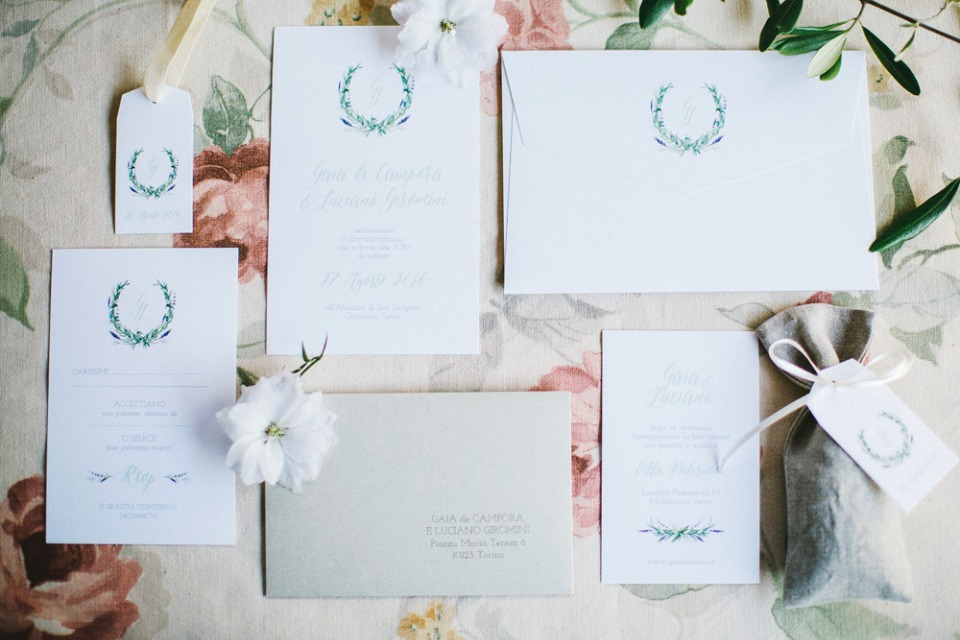 sweet and simple monogramed wreath wedding stationery