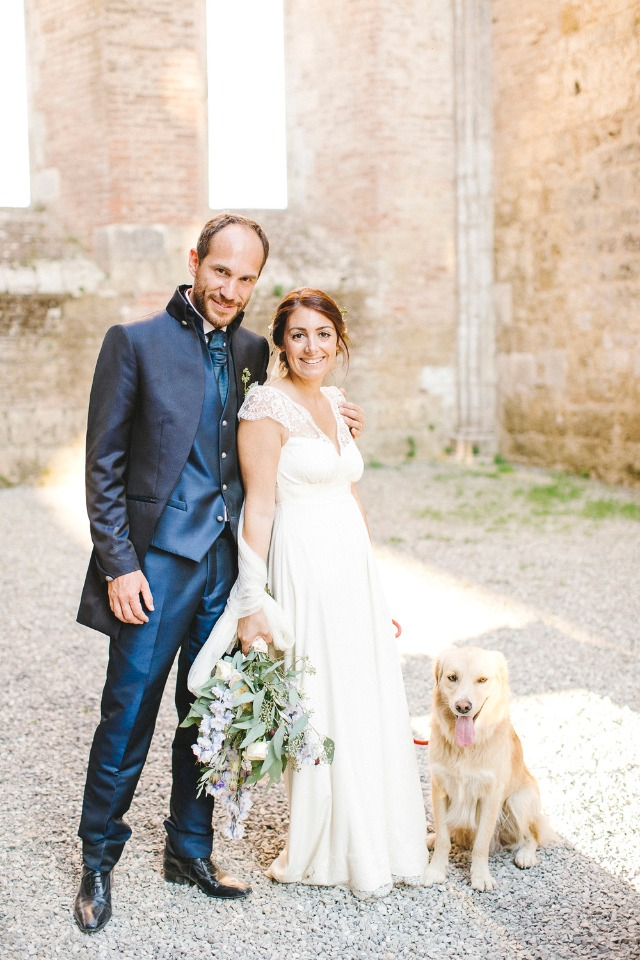 wedding couple just married and wedding dog