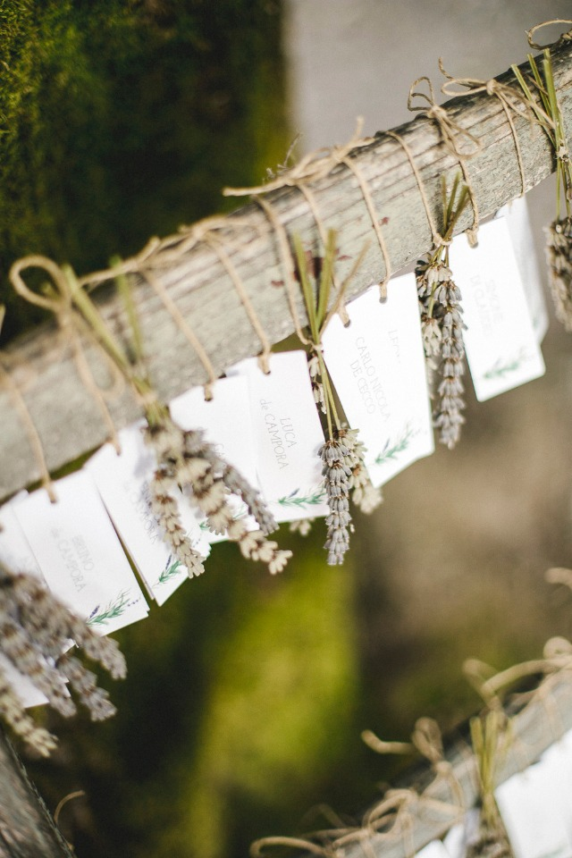 dried lavender and escort cards