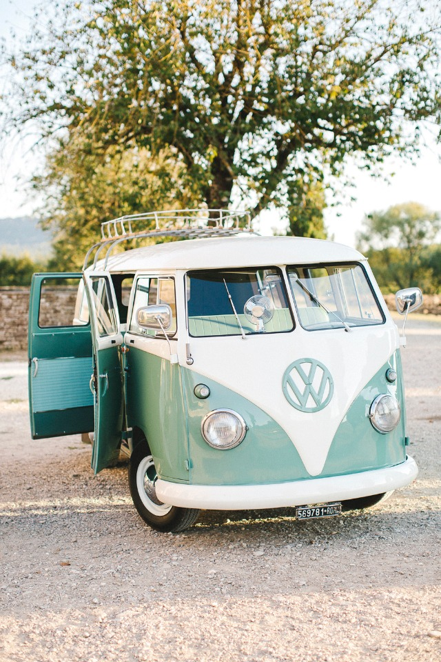 vintage vw bus wedding getaway car