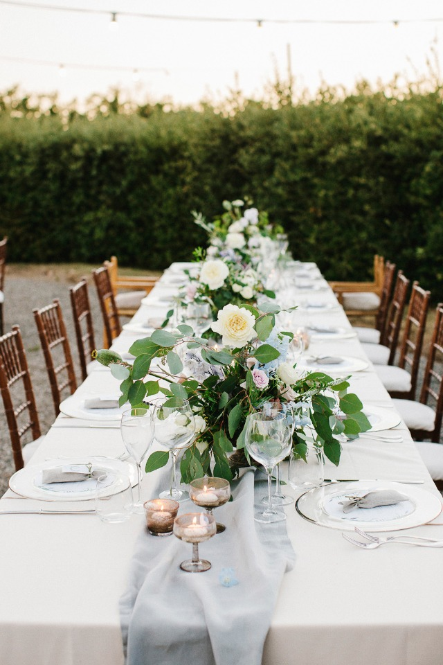 creme and grey wedding reception table decor