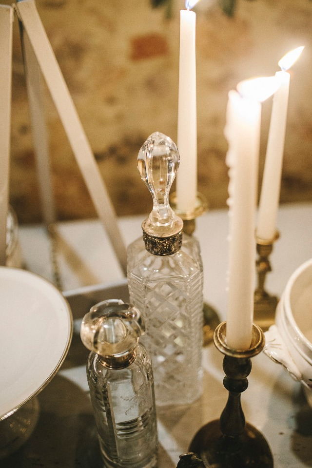 candle lit family heirloom wedding details
