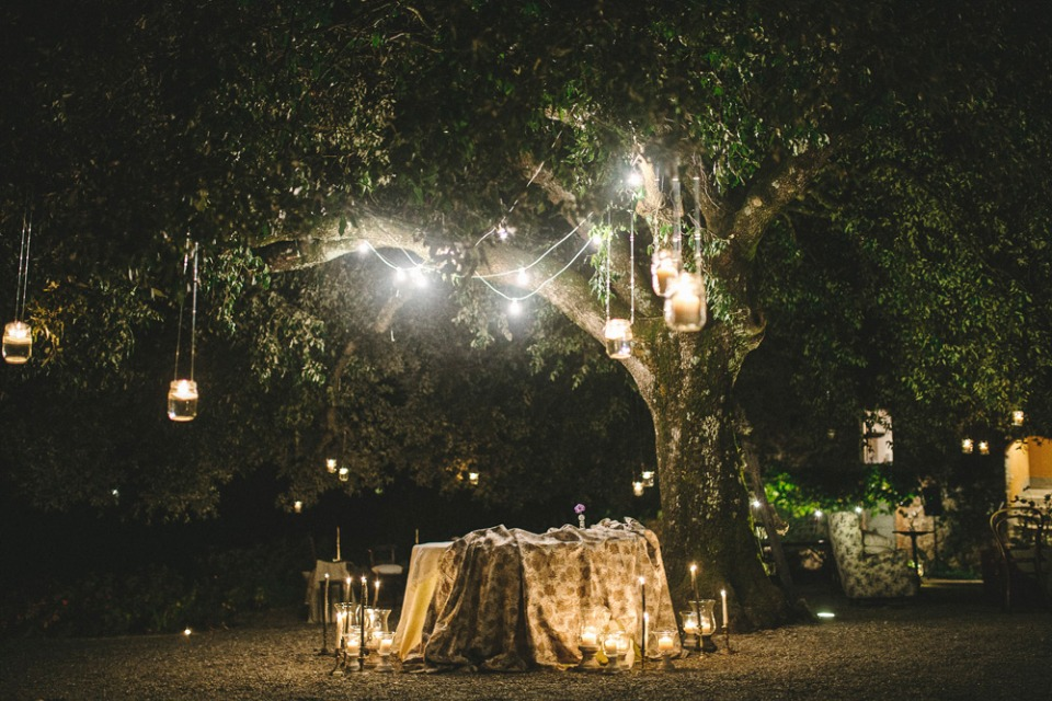 candle and lantern lit wedding reception