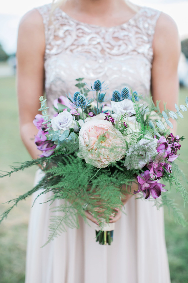 pink and purple bridesmaids bouquet