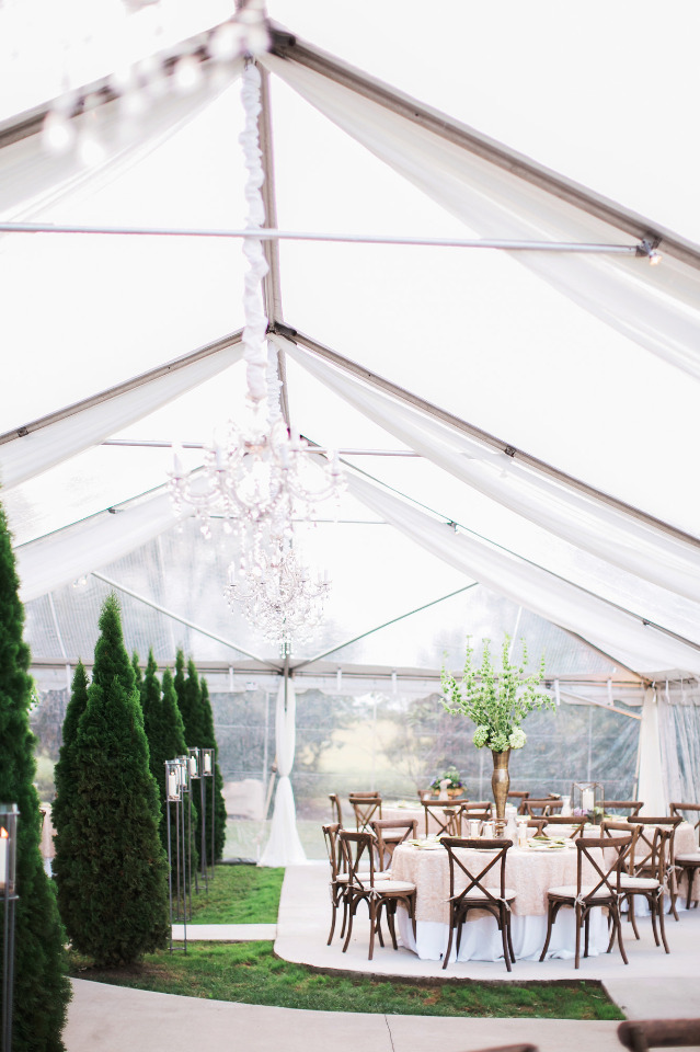 beautiful pink and gold wedding tent reception