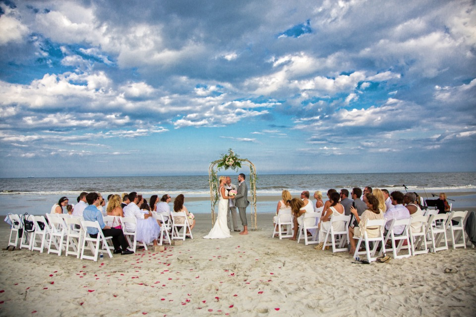 beach wedding at Jekyll Island Club Hotel