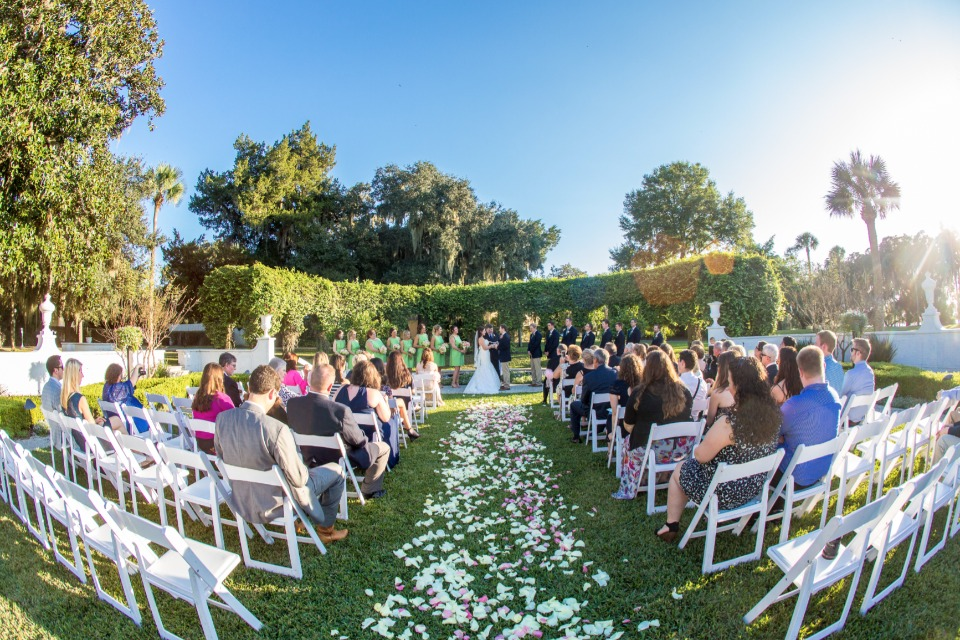 garden wedding ceremony at Jekyll Island Club Hotel