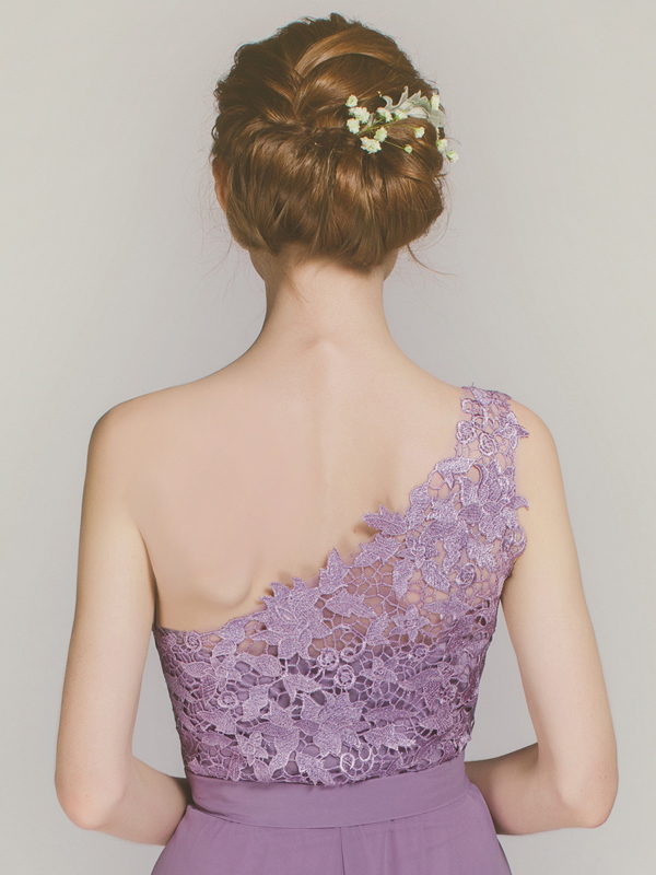 One shoulder lace bridesmaid dress from Stylish Wedd