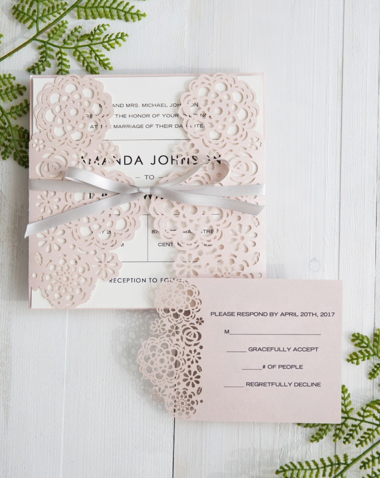 elegant pink laser cut wedding invites from Stylish Wedd
