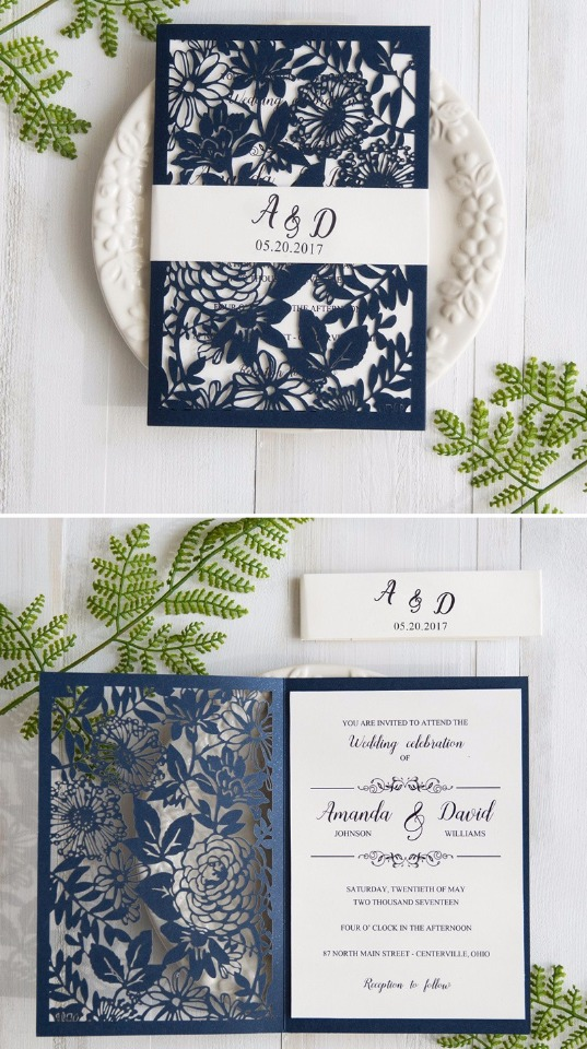 navy blue wedding invites from Stylish Wedd