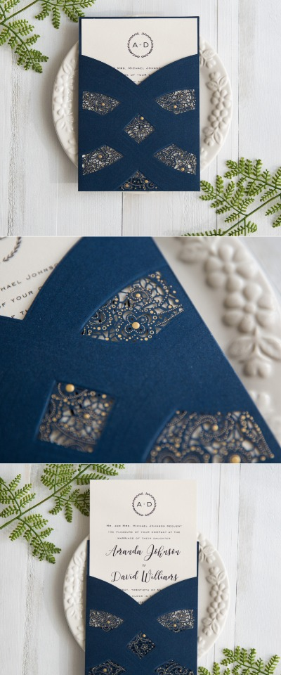 navy blue laser cut wedding invites from Stylish Wedd
