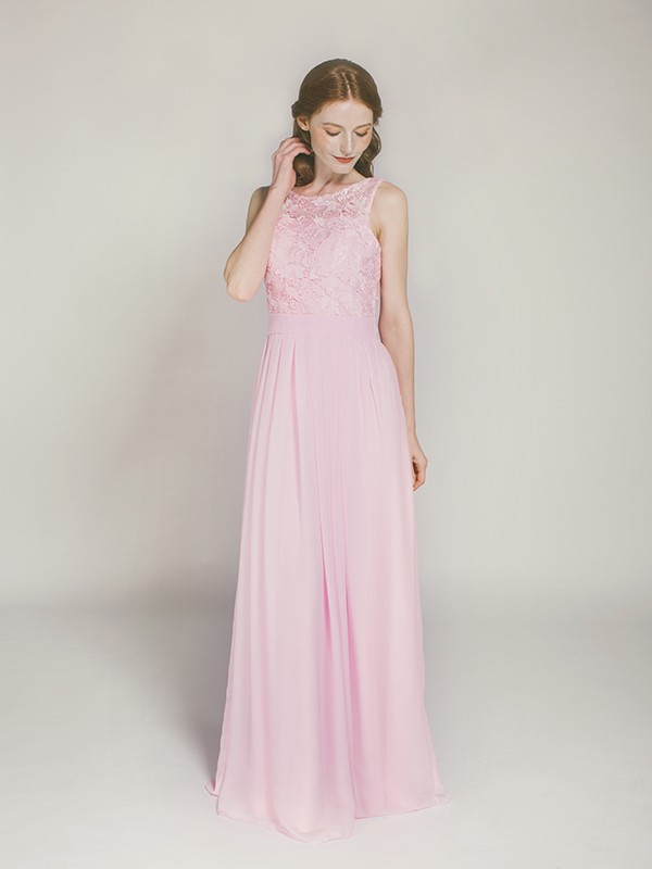blush floor length chiffon and lace bridesmaid dress