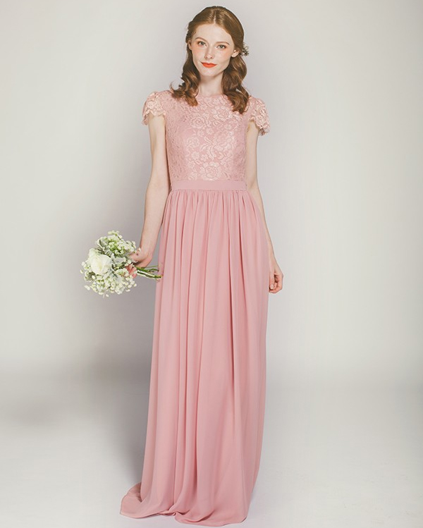 floor length peach bridesmaid dress